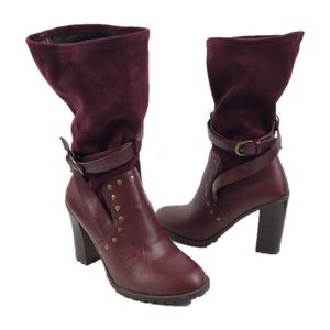 Leila Stone Burgundy Pull On Boots
